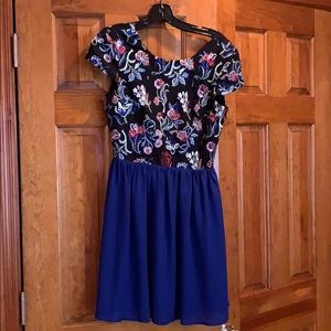 Dress with Pattern Top & Solid Skirt